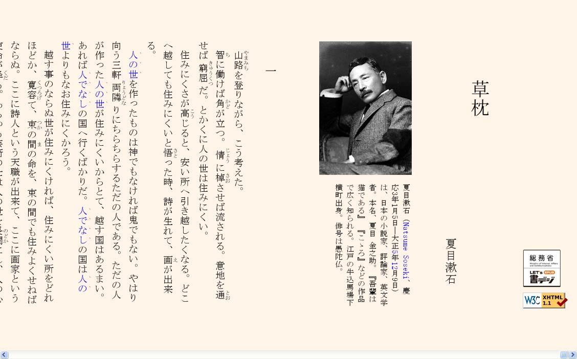 サンプルとして紹介された、夏目漱石の「草枕」の縦書き表示の例。Google Chrome 10.0でCSSによる日本語組版の実装を体験するために用意されたもので、前述の「epubcafe」のDownLoadページで公開されている