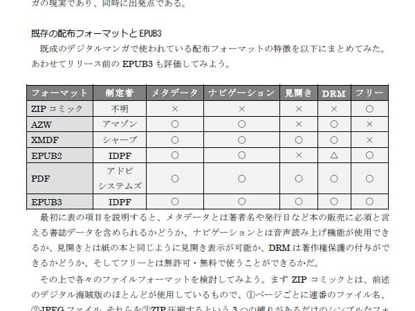 デジタルマンガの配信フォーマットの比較。PDFとEPUB3のみ、すべての項目に丸がついている