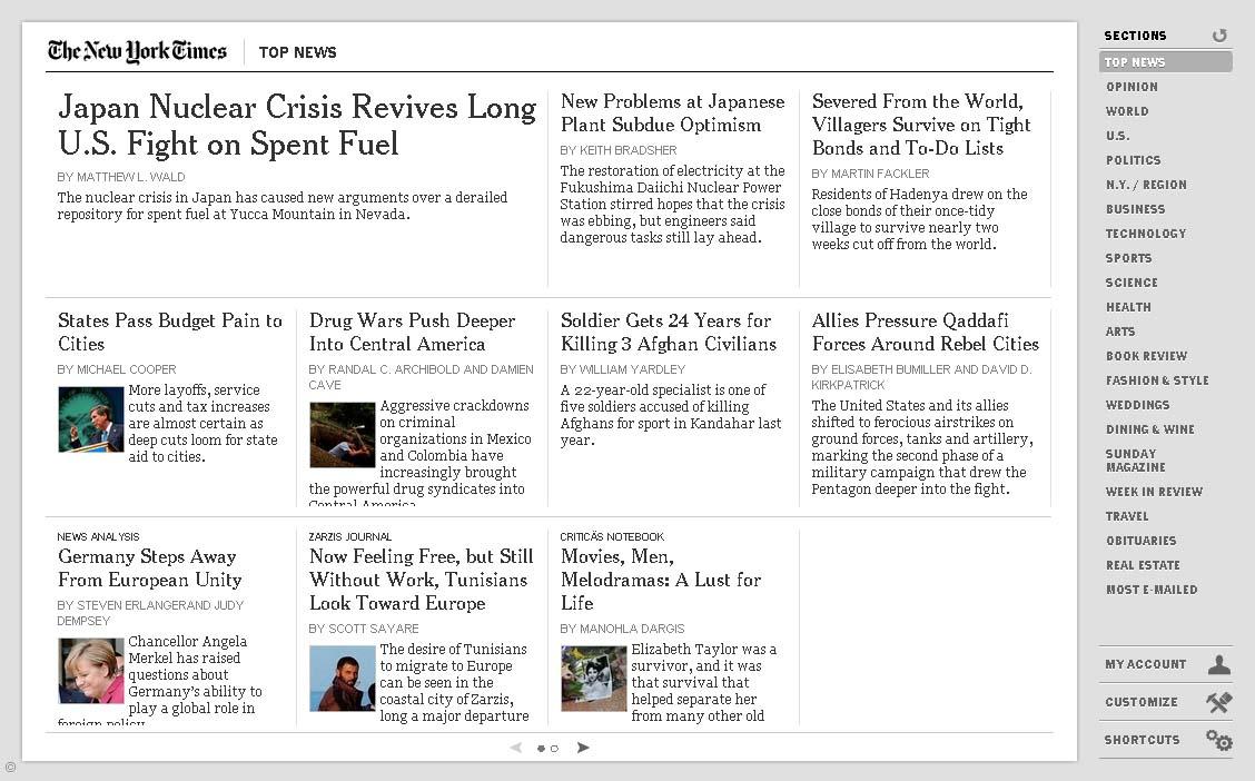 "HTML5で作成されている<a href=""http://www.nytimes.com/chrome/"">New York Times</a>の例。「EPUBは改ページ、HTMLはスクロールと言われるが、これはHTMLで改ページを実現している」(下川氏)"