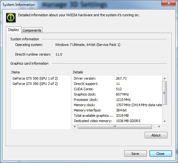 【画面1】NVIDIA Control Panelのシステム情報