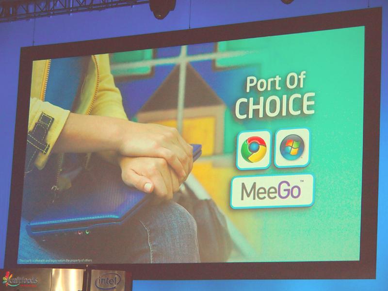 【写真3】ネットブックでサポートするOSは、Crhome、Windows 7、MeeGoの3種
