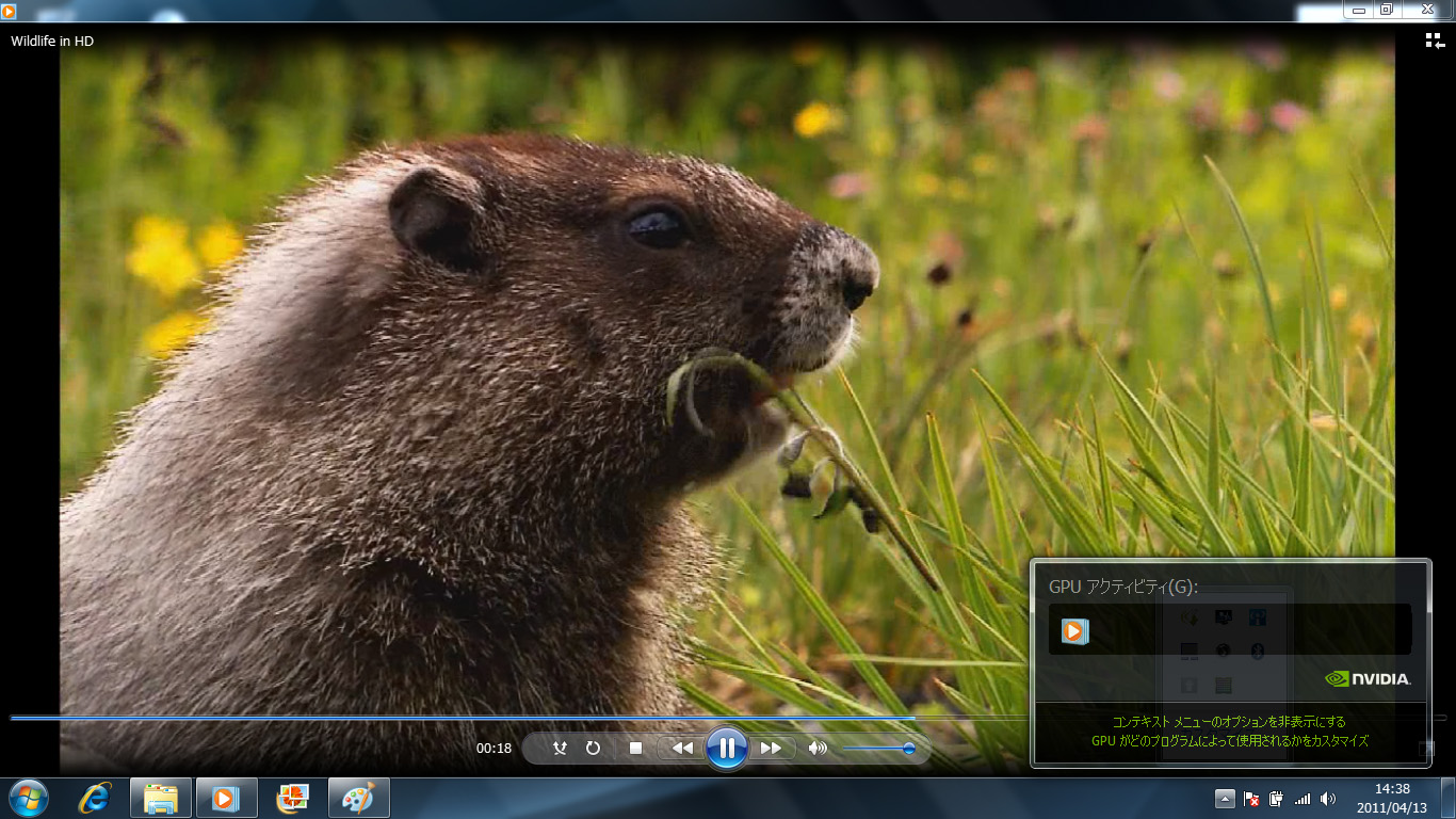 Windows Media PlayerをGeForce GT 520Mで実行中