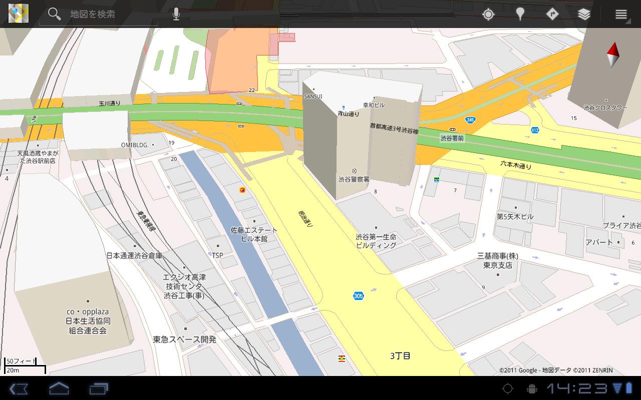 マップは建物の高さが相対的に分かる3D表示がなかなか面白い