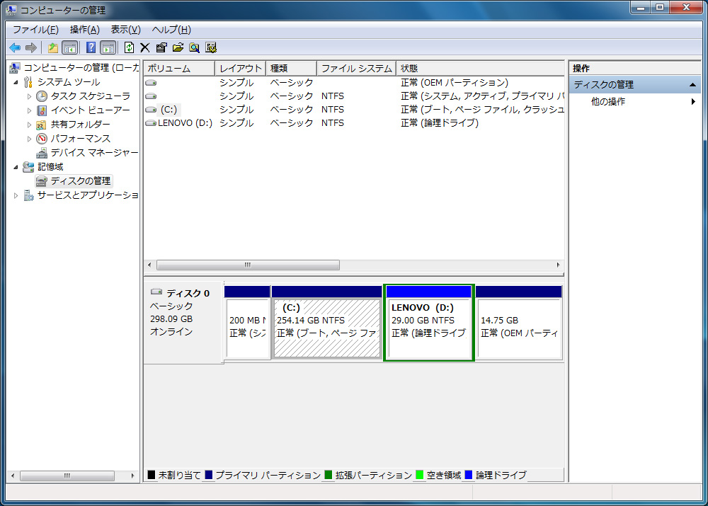 HDDのパーテーションはC:ドライブ約254GB、D:ドライブ29GBの2パーテーション