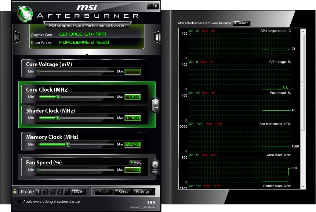 【画面2】コア850MHz、CUDAコア1,700MHz、メモリ4,080MHz相当へダウンクロックした状態でもテストを行なう