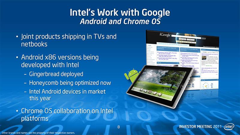 【図7】IntelとGoogleの協力関係は、Android搭載機器の分野でも結果を残せるか