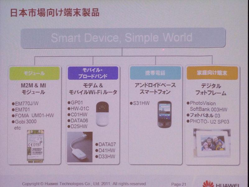日本でもモジュール、通信アダプタ、スマートフォン、デジタルフォトフレームなど幅広く展開している