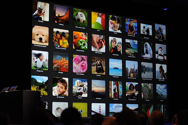 フルスクリーンアプリケーションのiPhoto。画面一杯にアルバムが拡がる