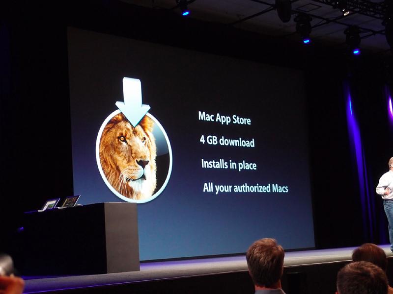 LionはMac AppStoreからの配信のみで提供され、そのままインストールが始まる