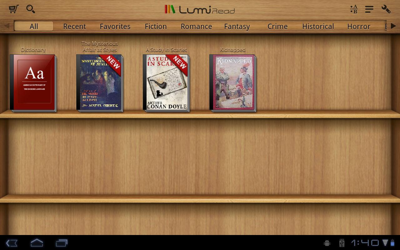 電子書籍閲覧アプリのLumiRead。電子書籍の管理や閲覧が行なえる