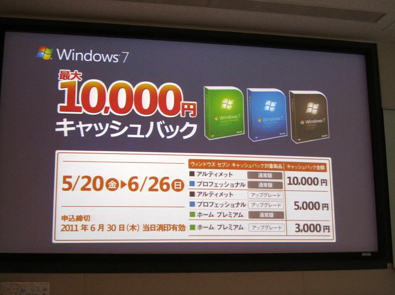 実施中のWindows 7のキャッシュバックキャンペーン