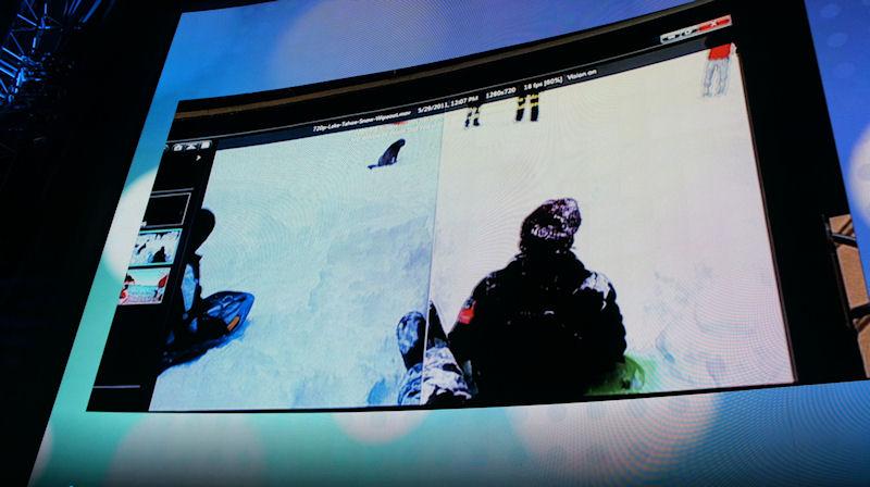 Motion DSPのデモでは、Aシリーズの機能を利用して、動画をリアルタイムに高画質化する機能が紹介された