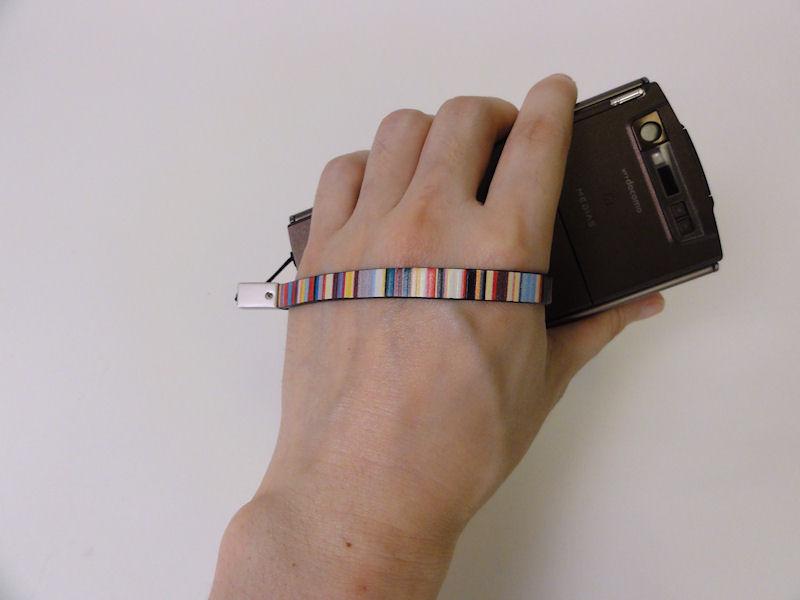 歩きながら使っていると落としそうになるので、輪っか型のストラップを買って、このように使っている