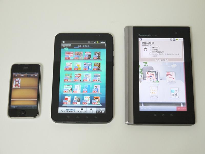 製品のサイズ比較。左からiPhone 3GS、本製品、GALAXY Tab