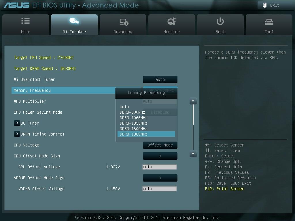 Memory FrequencyでDDR3-1866が設定できる