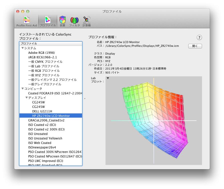 ColorSyncユーティリティで付属のICMとsRGBを比較。付属のHP_ZR2740w.icmとsRGBをMac OS XのColorSyncユーティリティを使って重ねたところ。完全に一致しているのが分かる