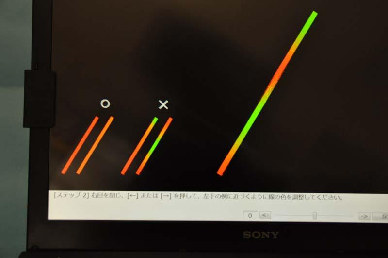 調整はいくつかのステップで行なうが、画面の指示に従って、カーソルキーで視差を調整すればOKだ