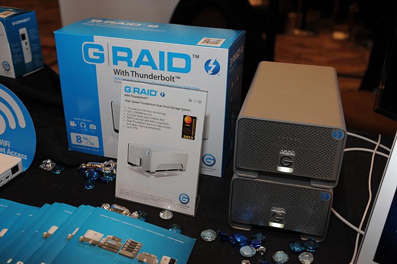 Digital Experienceに出展されたG-Technologyの「G RAID with Thunderbolt」。やはり2台の3.5インチHDDを搭載するシリーズで最大転送速度は280MB/secと発表されている