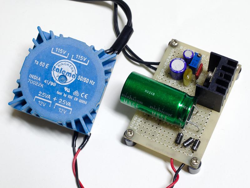 LM317Tを使った15Vアナログ電源。たまたまあったトランスと、以前DAC用に使っていた基板をリメイクしたもの