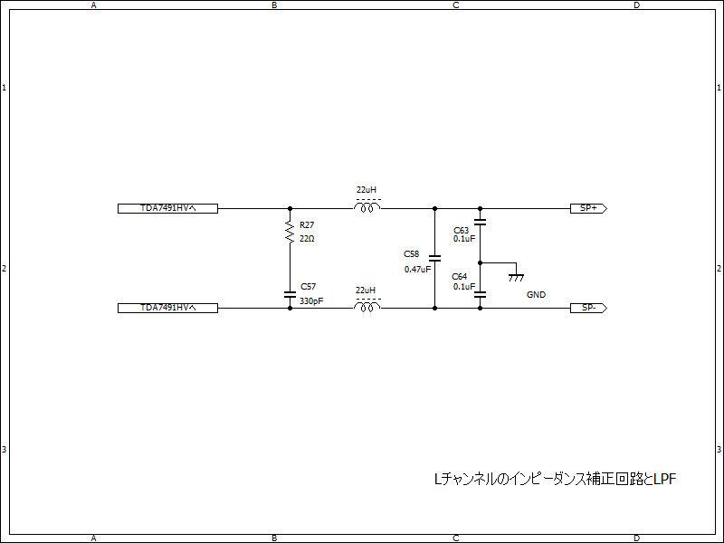 回路図。R27とC57はインピーダンス補正回路、それ以降がLPF