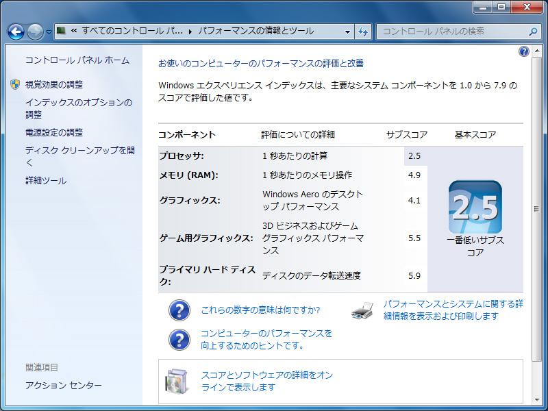Windows エクスペリエンス インデックスは総合 2.5。プロセッサ 2.5、メモリ 4.9、グラフィックス 4.1、ゲーム用グラフィックス 5.5、プライマリハードディスク 5.9