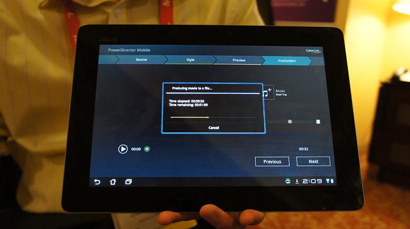 CyberlinkがCESでデモしたPowerDirector Mobile for Android。Tegra3に最適化されており、クアッドコアを効率よく利用してエンコードがタブレット上で可能に。Cyberlinkによれば、現時点ではマーケットなどで販売する予定はなく、OEM/ODMメーカー向けになるという