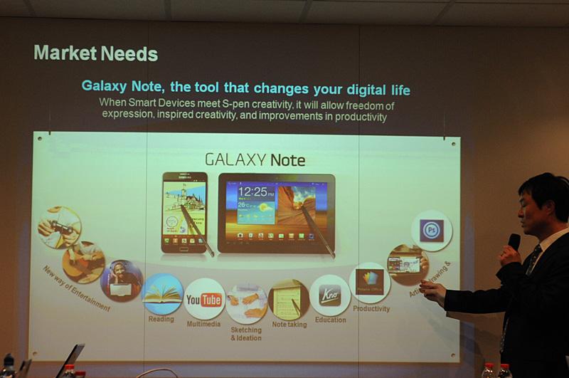 市場にはモバイル機器でより本格的なコンテンツ制作のニーズがあり、それに応えるのがGalaxy Noteであると説明