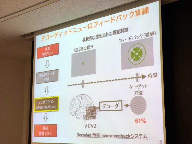 被験者の知覚と脳の特定部位の活動を分離して訓練できる「DecNef訓練」を行なわせた