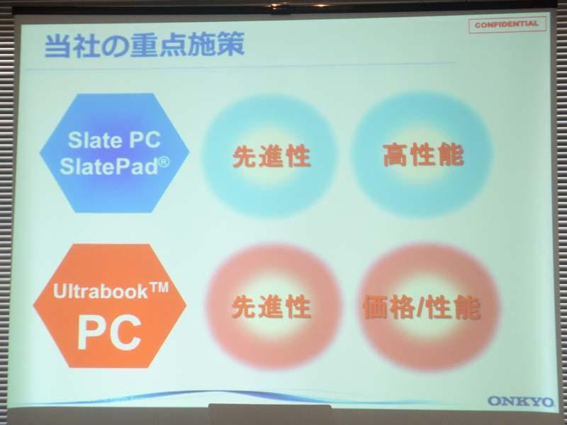 オンキヨーのスレートPC、Ultrabookの重点施策