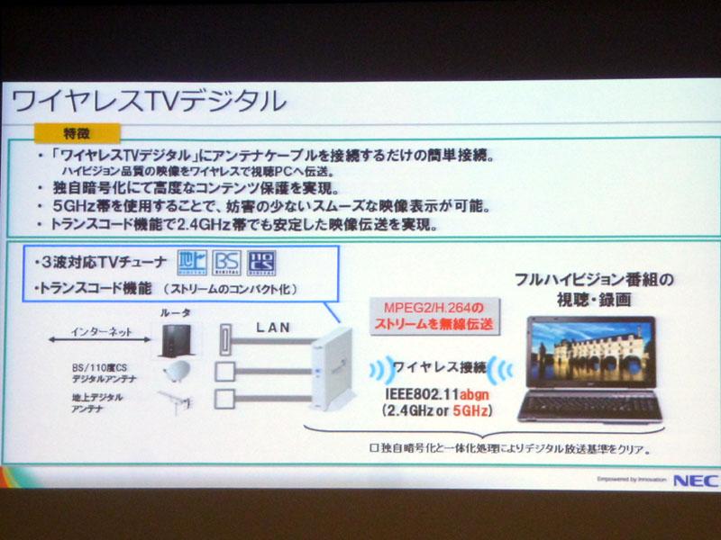 一部のノートPCについては、ワイヤレスで視聴できるシステムを用意している