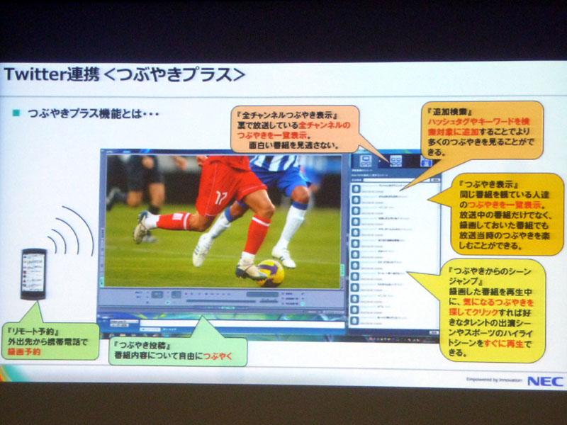「つぶやきプラス」の画面。番組に関連したハッシュタグも追加できる