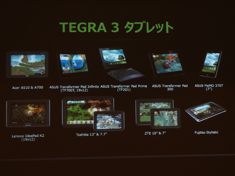 Tegra 3搭載タブレット