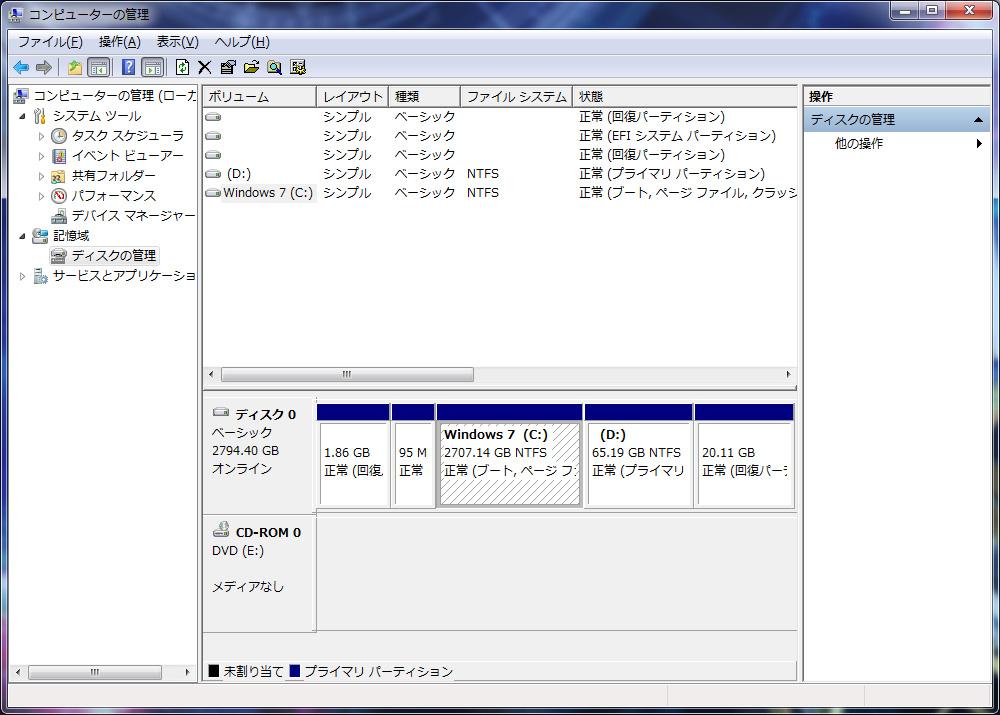 HDDのパーティション。実質C:ドライブのみの1パーティションで約2.7TBが割当てられている