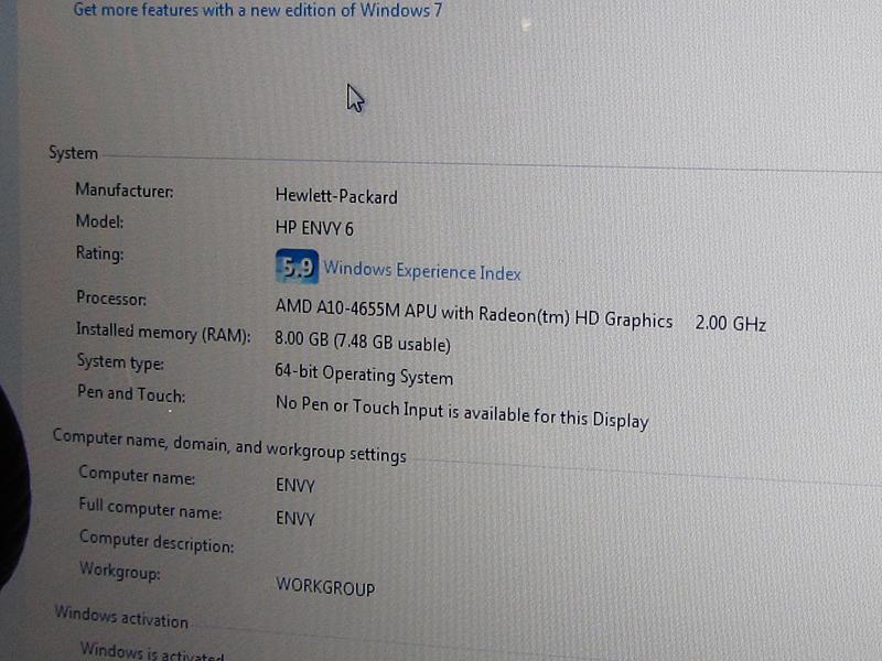 同じENVY 6ではあるが、Ivy Bridge搭載版とTrinity搭載版が用意される