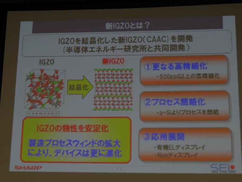 新IGZOはCAAC構造で500dpiを超えるさらなる高精細化が実現された