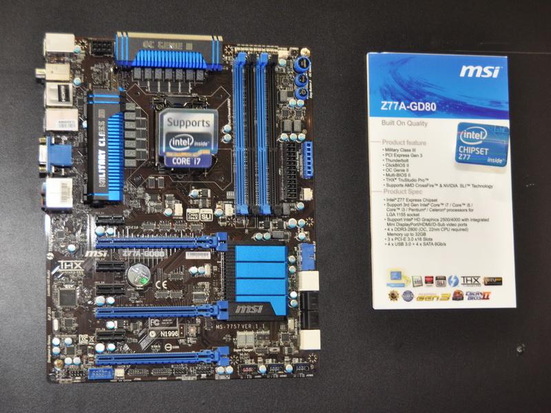 MSI初のThunderbolt搭載マザーボード「Z77A-GD80」。チップセットはIntel Z77 Express。今週末より販売が開始される予定