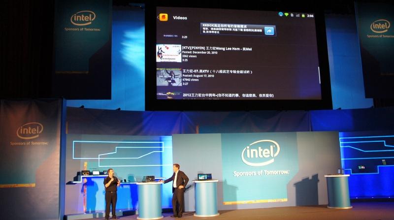 デモでは、IntelのWi-Fiを利用したワイヤレスディスプレイ機能(WiDi)を利用してディスプレイに接続する様子などが公開された