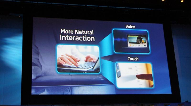 Ultrabookに搭載される新しい機能としてはタッチ機能と音声認識が強調される