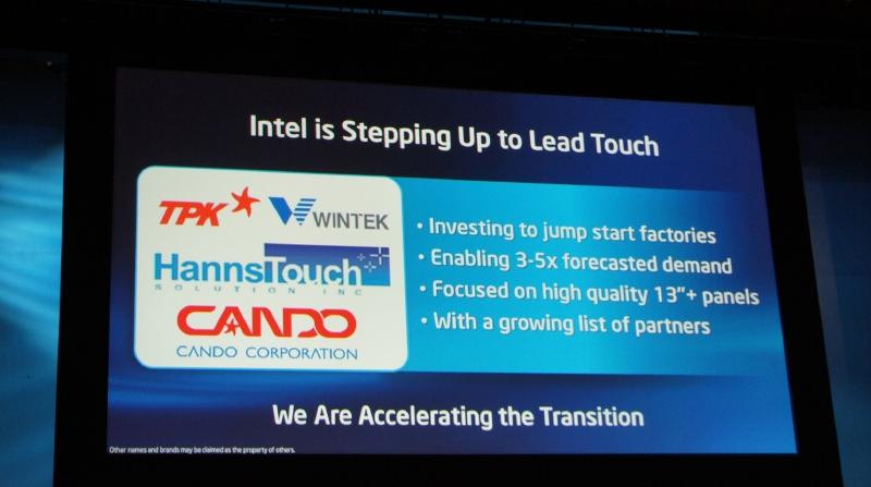 IntelはTPK、Wintek、Hanns Touch、Candoと協力してタッチ機能の普及促進を目指す