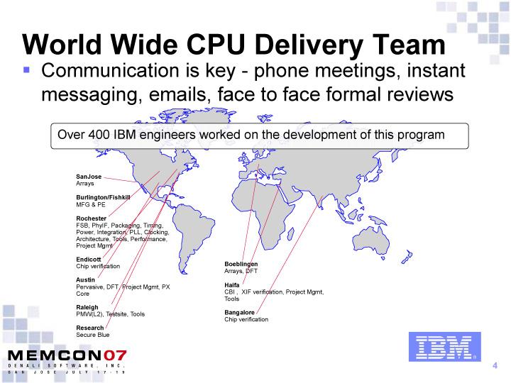 IBMのチップ開発チームの分布