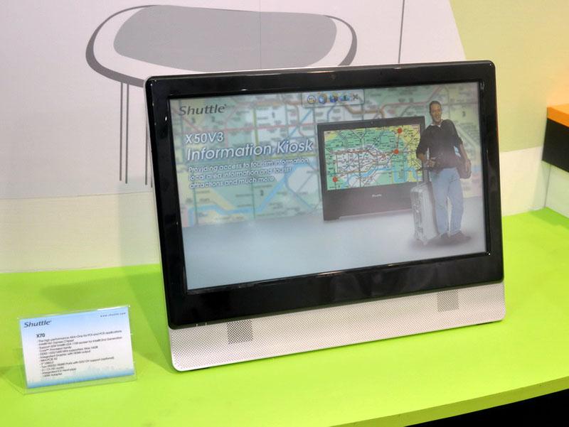 液晶一体型ベアボーン新モデル「X70」。デスクトップ向けCore iシリーズ(TDP 65W以下)に対応し、性能が向上。液晶サイズも18.5型に大型化した
