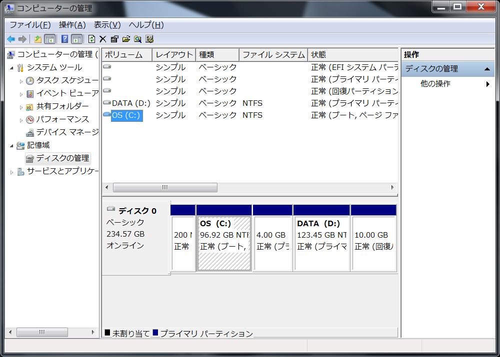 SSDのパーティション。C:ドライブがシステム用として約97GB、D:ドライブがデータ用として約123GBの2パーティション