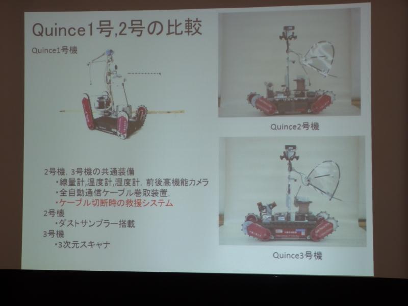 Quince1号機、2号機、3号機の各特徴