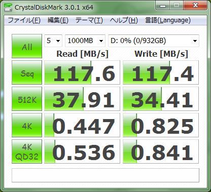 USB 3.0接続時の速度