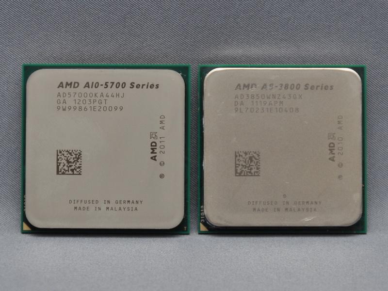 CPUに、第2世代AシリーズAPU(左)を採用。A10-5700またはA8-5500を選択できる。右は第1世代AシリーズAPUのA8-3850
