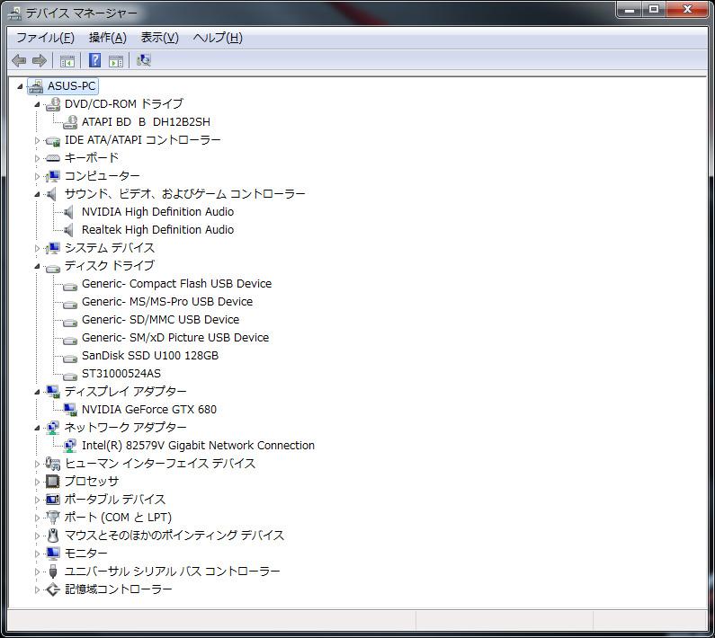 デバイスマネージャ。HDDは1TB/SATA6Gbps/7,200rpm/キャッシュ32MBの「ST31000524AS」、SSDは「SanDisk SSD U100 128GB」。BDドライブは「BD B DH12B2SH」