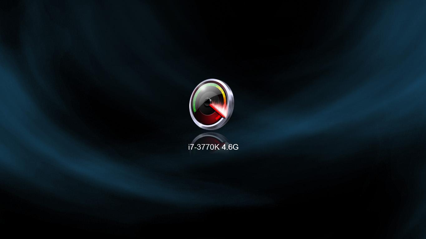 4.6GHz。本体左上にあるボタンを押すと作動クロック数が切り替り、全画面で表示される