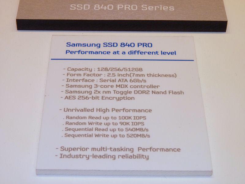 SSD 840 PROの主なスペック。容量は128/256/512GBの3種類が用意されている