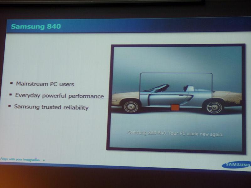 SSD 840の製品コンセプト。メインストリームPCユーザー向けの製品であり、性能と信頼性を重視している