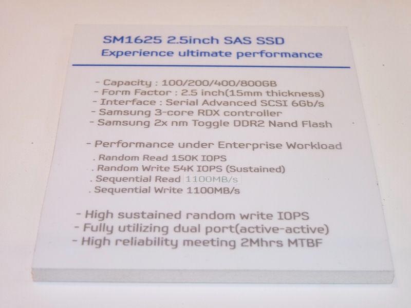SM1625の主なスペック。15mm厚で、インターフェイスとしてSASを採用。シーケンシャルリードとライトは1,100MB/secに達する